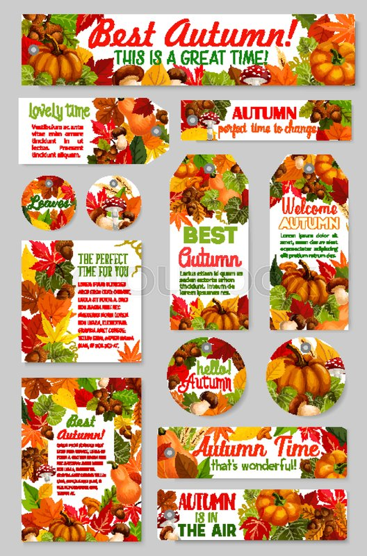 hello autumn and welcome fall seasonal greeting card tag or banner