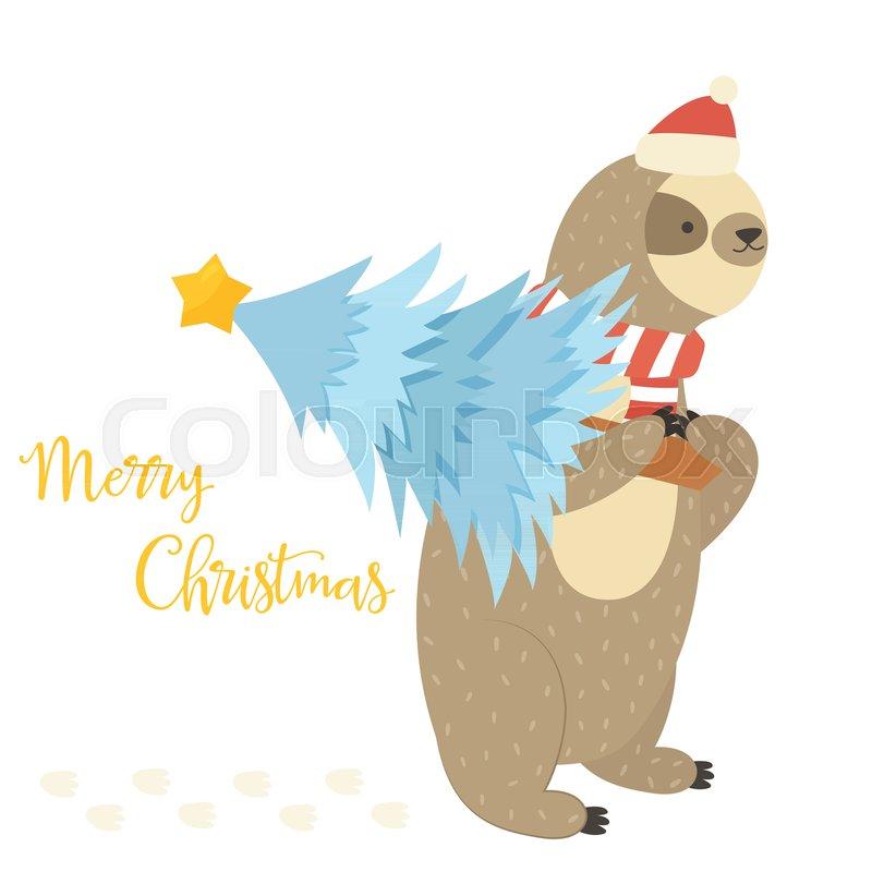 Christmas Sloth.Christmas Sloth Bearing Holiday Tree Stock Vector