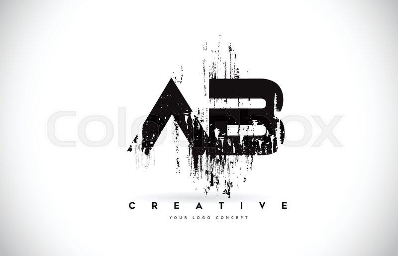 Ab A B Grunge Brush Letter Logo Design Stock Vector Colourbox