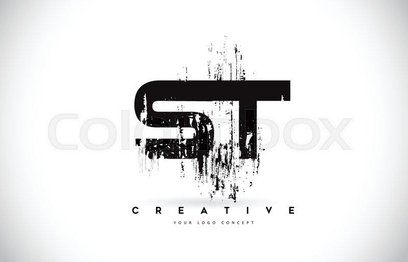 St S T Grunge Brush Letter Logo Design Stock Vector