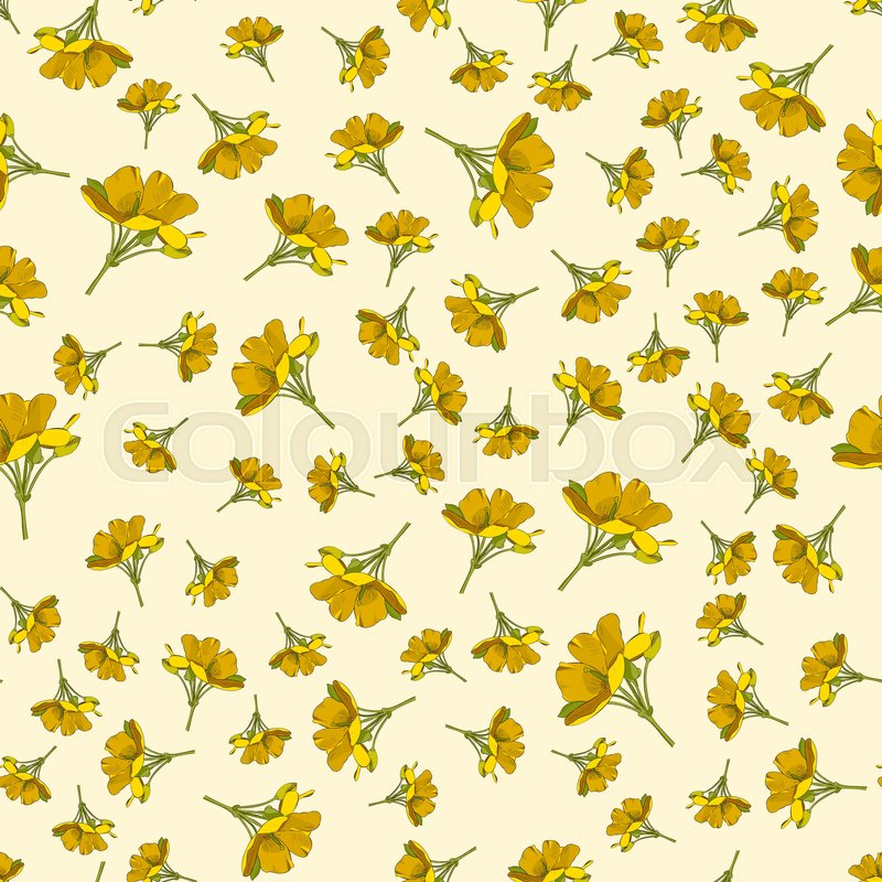 Seamless Cute Floral Pattern Yellow Stock Vector