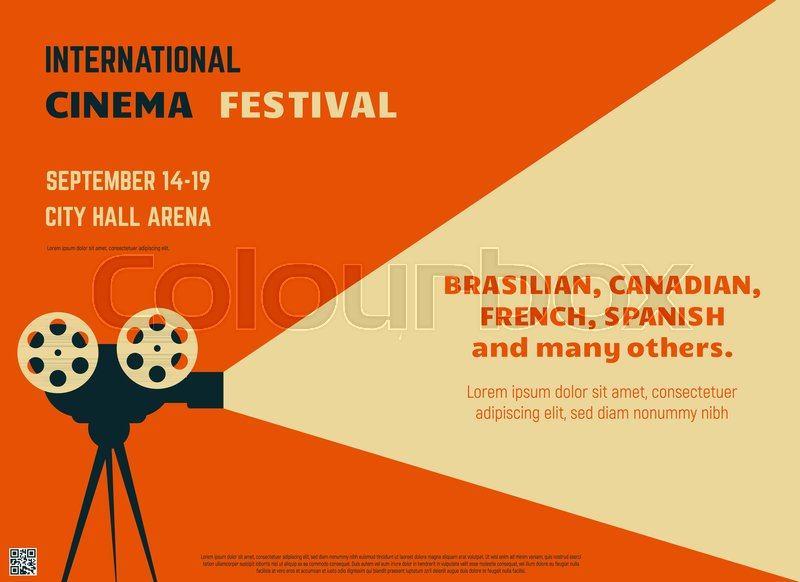 Retro Style International Movie Festival Poster Template Orange Background And Black Colors Film Theater Reel Camera