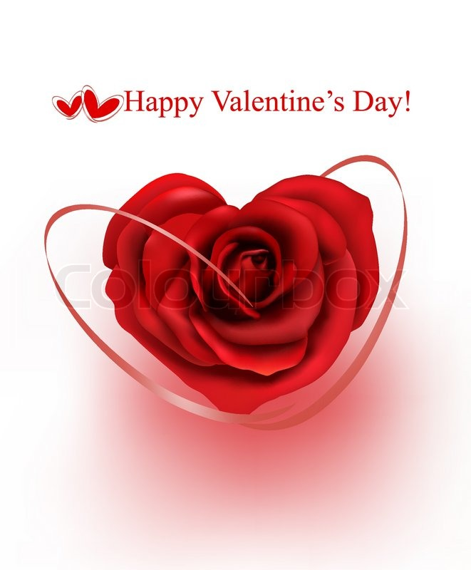 valentine s day background red rose with gift red ribbons vector