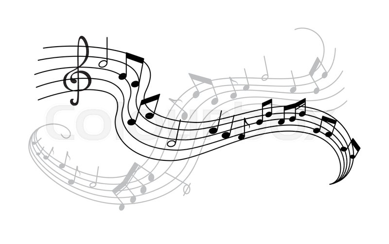 Musical Note And Treble Clef On Swirling Stave Icon Musical