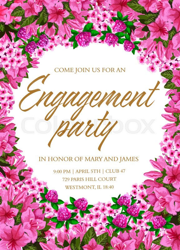 Engagement party invitation template     | Stock vector