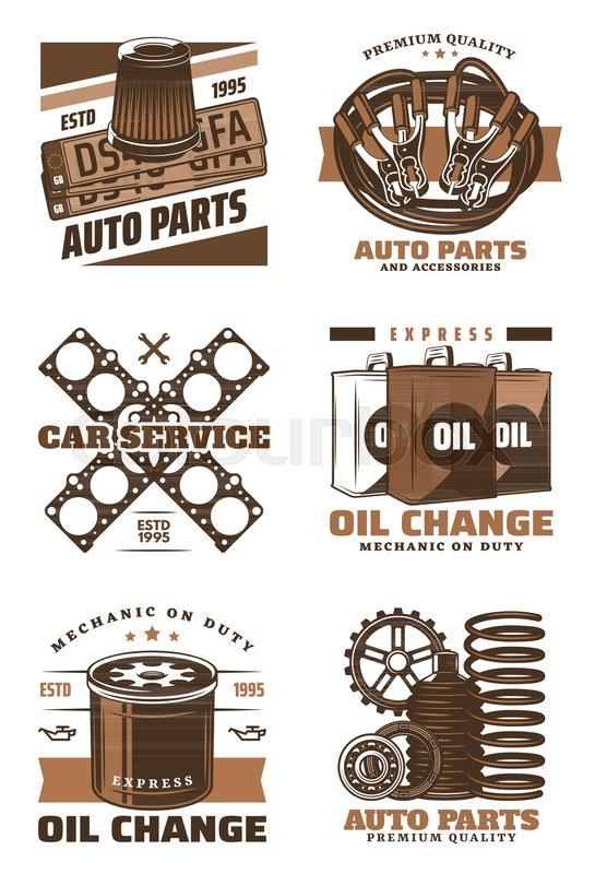 Car Service Retro Icon Of Motor Oil Change Shop Auto Parts Store
