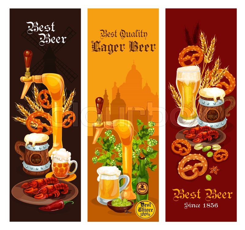 beer banner set of alcohol drink for pub and bar menu template beer