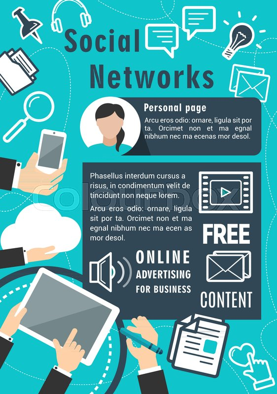 social network vector poster for stock vector