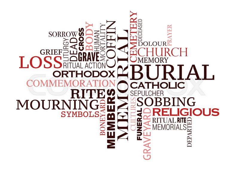 Funeral Word Cloud Of Burial Ceremony Concept Mourning Symbols Of