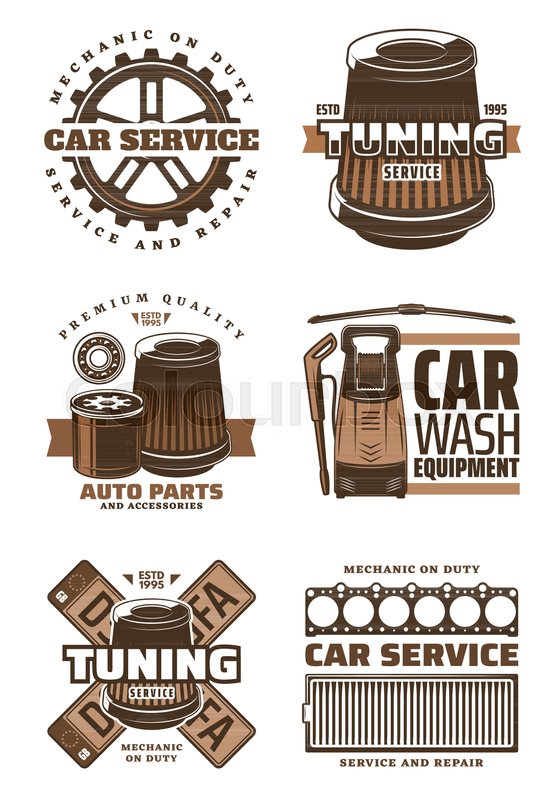 Car Service And Auto Part Repair Shop Retro Symbol Set Gear Wheel