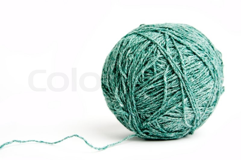 an image of a ball of green yarn on white background stock photo colourbox. Black Bedroom Furniture Sets. Home Design Ideas