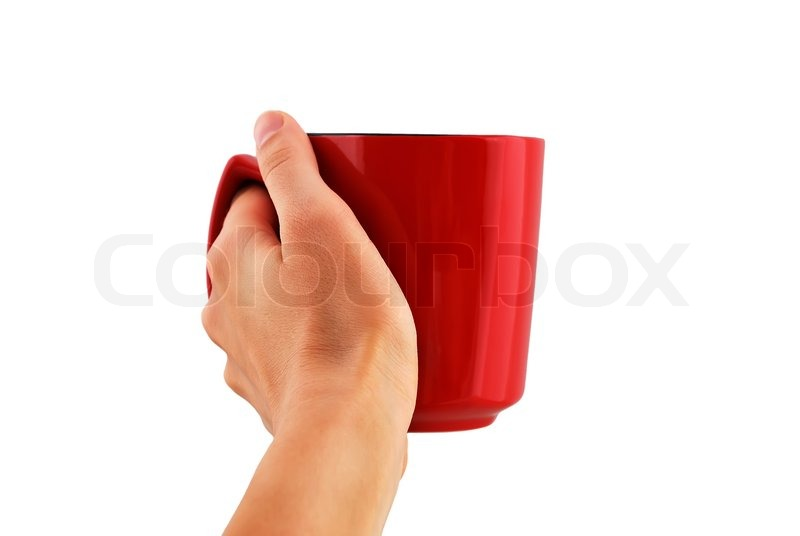 red cup in hand on white background stock photo colourbox