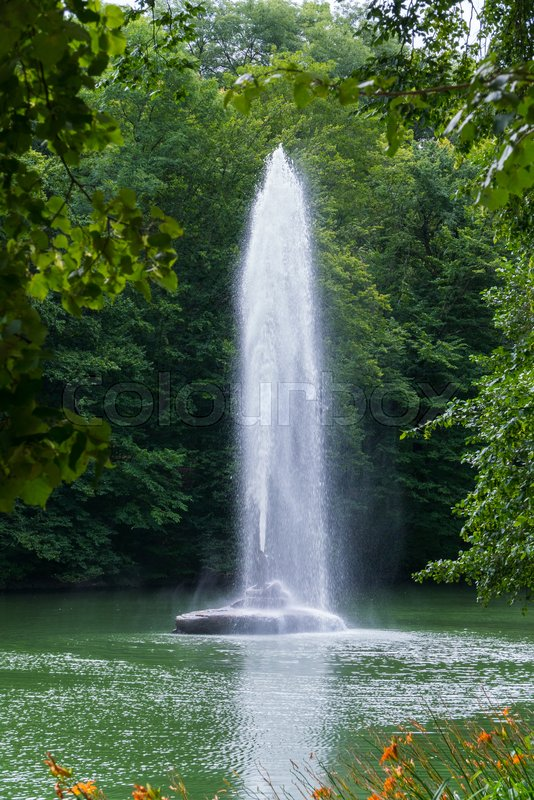 Beautiful view from behind the green foliage of the trees to the fountain in the middle of the pond with a clear stream of water hitting high up, stock photo