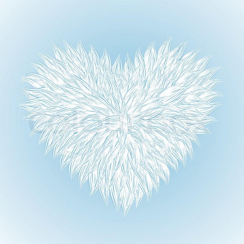 Fluffy White Heart On Light Blue Background Vector Illustration