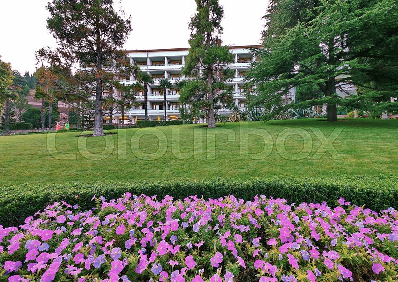 Flowerbed with soft pink and purple flowers in front of the white building of the hotel, recreation center or sanatorium with balconies on the background of high fir trees, green lawn and clear sky, stock photo