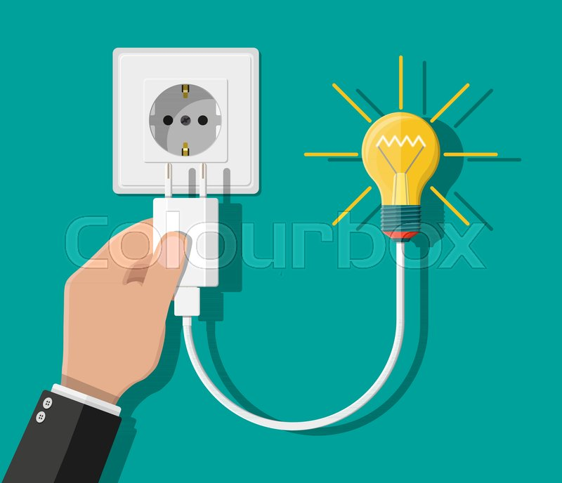 Glass light bulb. Cord electrical plug connected to power socket ...