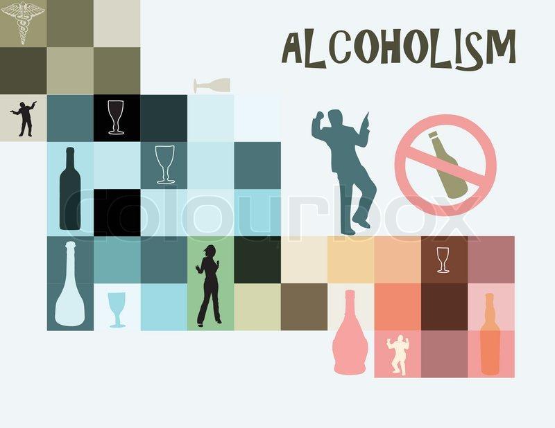 thema des alkoholismus als krankheit der sucht nach alkohol vector illustration vektorgrafik. Black Bedroom Furniture Sets. Home Design Ideas