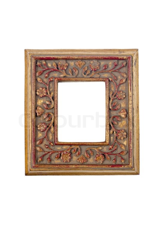 Antique picture frame, square, gold/yellow color. | Stock Photo ...