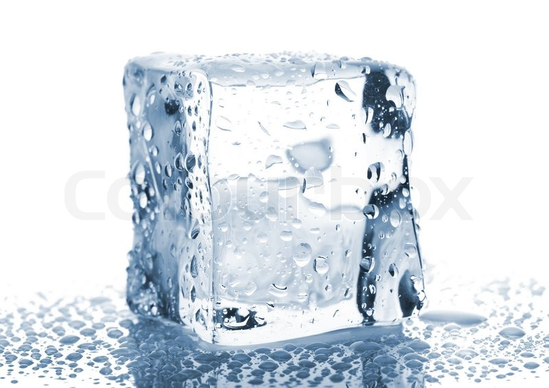 single ice cube with water drops isolated on white background stock photo colourbox. Black Bedroom Furniture Sets. Home Design Ideas