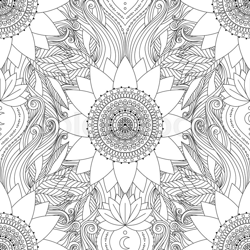 Seamless boho pattern stylized floral background with black and stylized floral background with black and white lotus flowers mandalas and waves ethnic design in vector indian asian motifs mightylinksfo