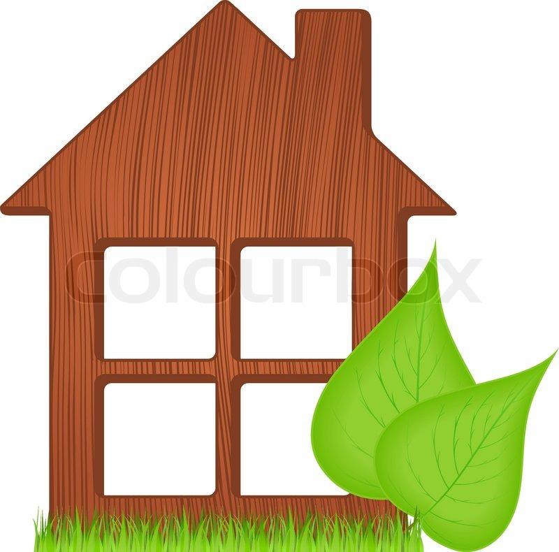 Icon von ökologischen Holzhaus mit grünem Gras zwei grünen