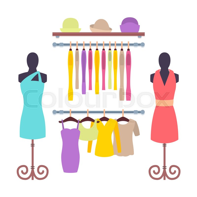 b9d776376 Clothes hanging on hangers in Women ... | Stock vector | Colourbox