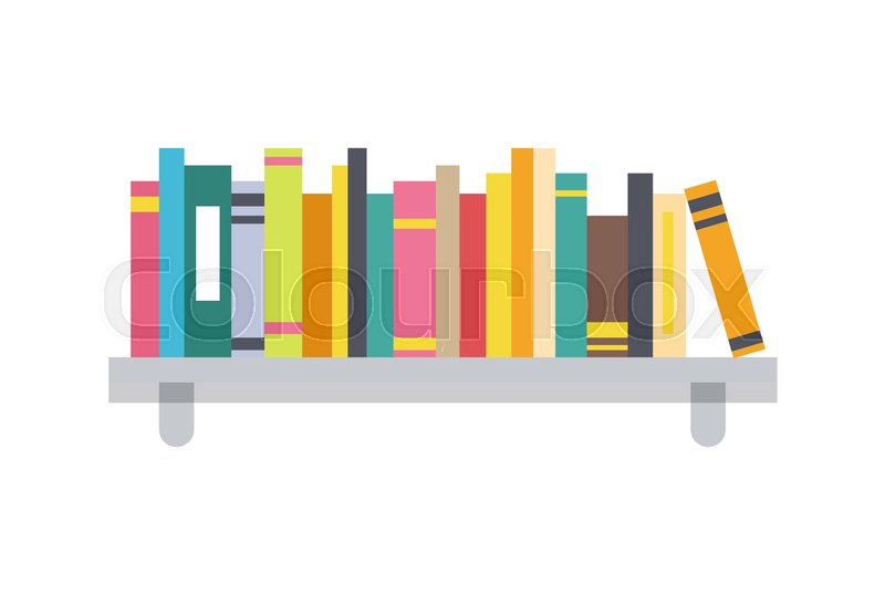 book shelf template color vector illustration books collection on