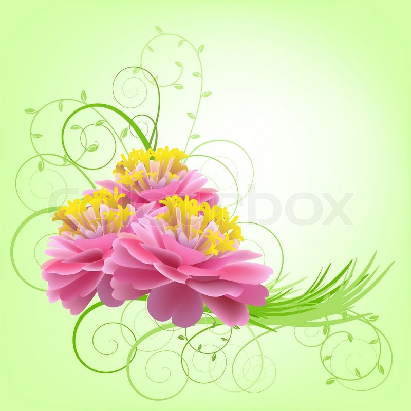 Pink Flowers On A Green Background Stock Vector Colourbox