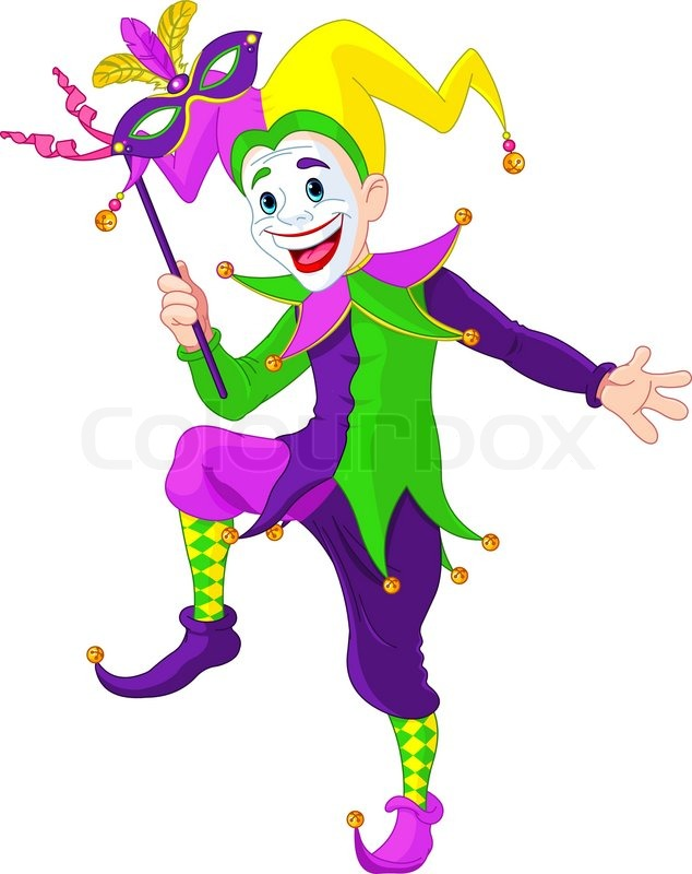 clip art illustration of a cartoon mardi gras jester holding a mask rh colourbox com jester clip art free court jester clipart