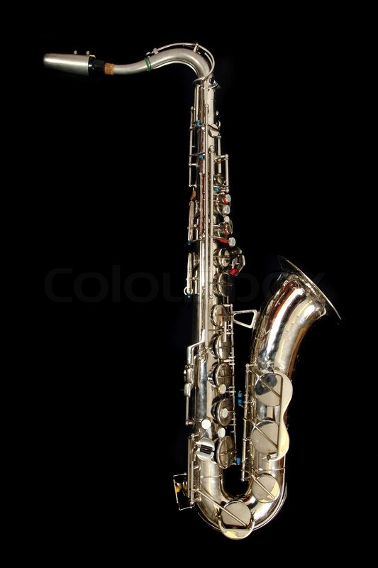 Old Saxophone Isolated On The Black Background Stock