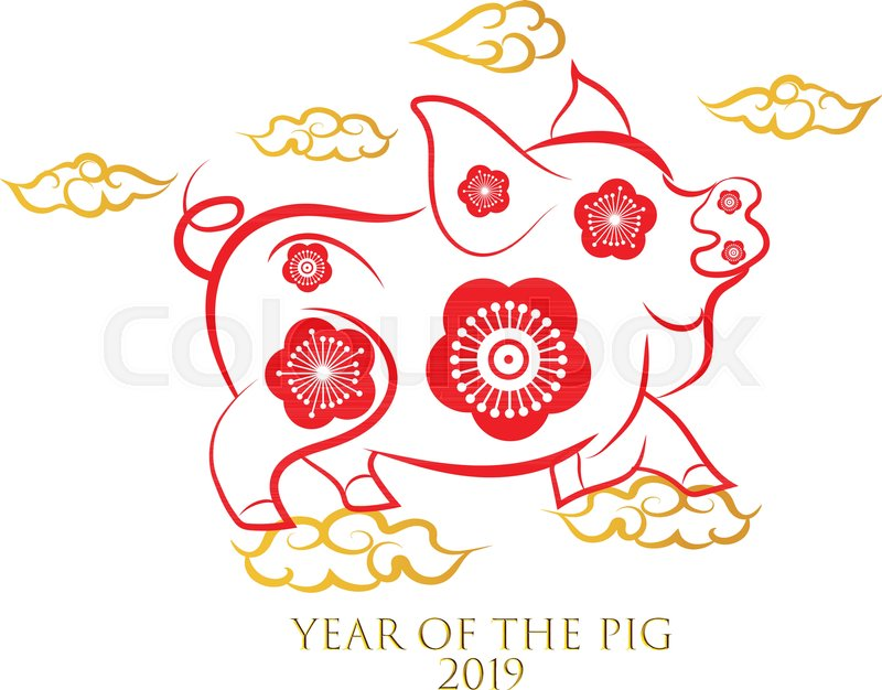 Chinese New Year greeting card. 2019 year of pig in Chinese calendar ...