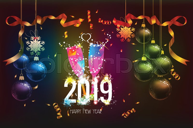 Happy new year 2019 background with stock vector - New year 2019 color ...
