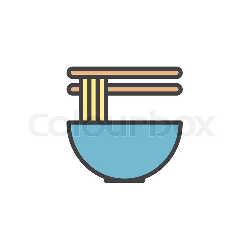 Noodles Bowl Filled Outline Icon Line Vector Sign Linear Colorful