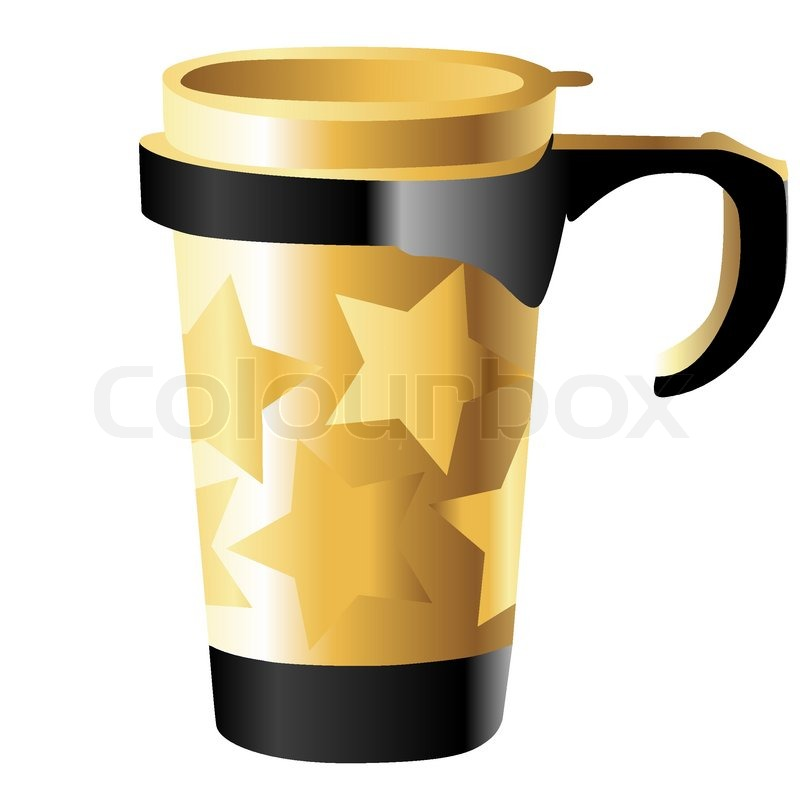 Golden Metal Cup With Stars Isolated On White Stock