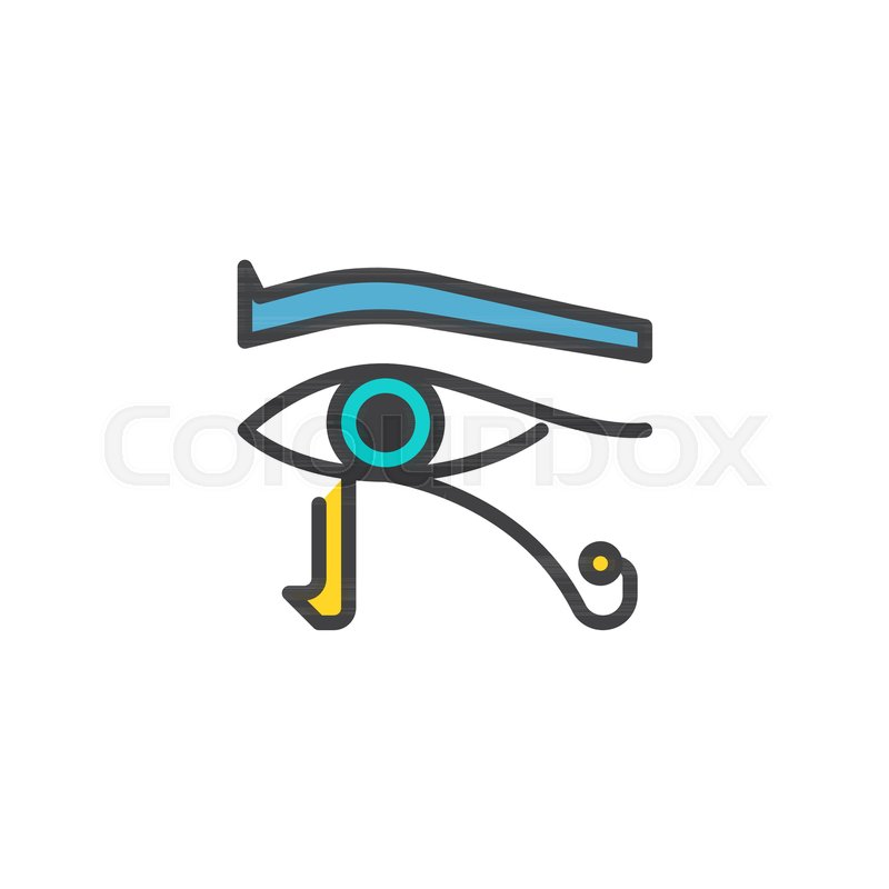 Egyptian Eye Filled Outline Icon Line Vector Sign Linear Colorful