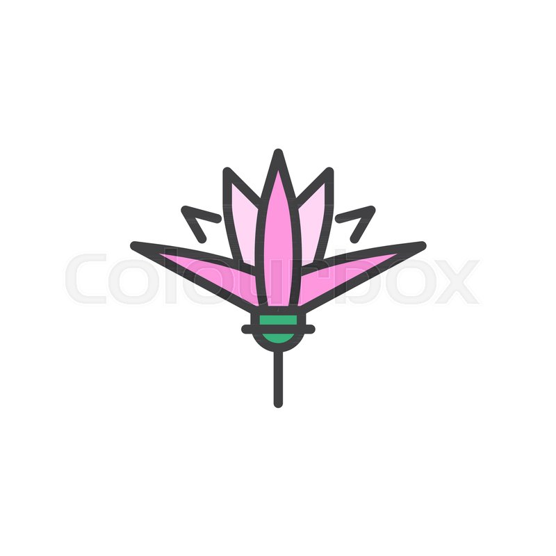 Lotus Flower Filled Outline Icon Line Vector Sign Linear Colorful