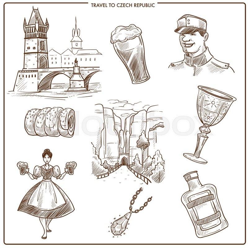 Czech Republic Travel Sketch Symbols Of Prague Tourism Landmarks