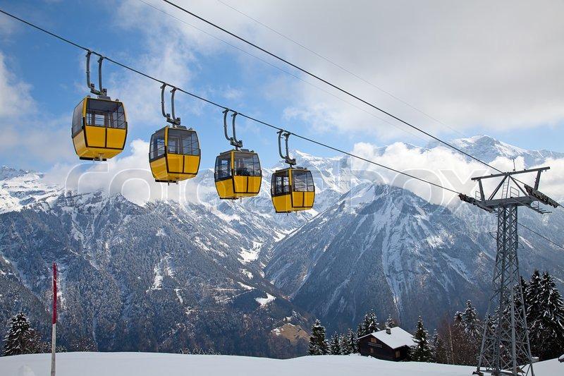 Winter In The Swiss Alps Switzerland Stock Photo