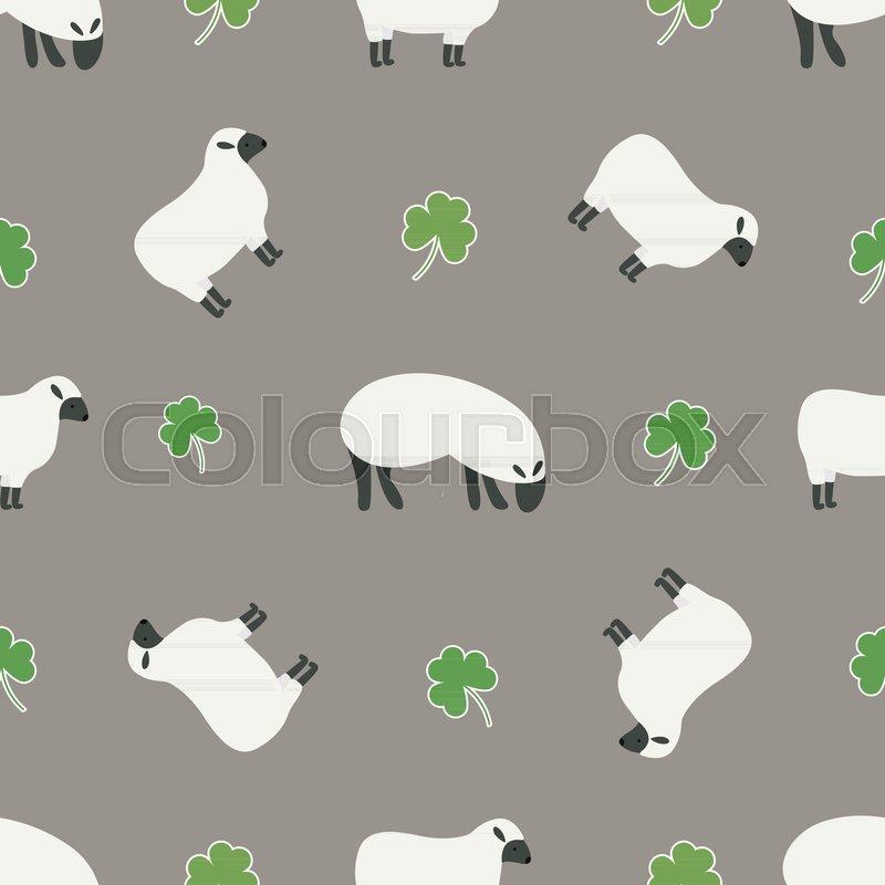 Irish Shamrock Clovers Sheep Pattern Symbols Of Ireland Vector