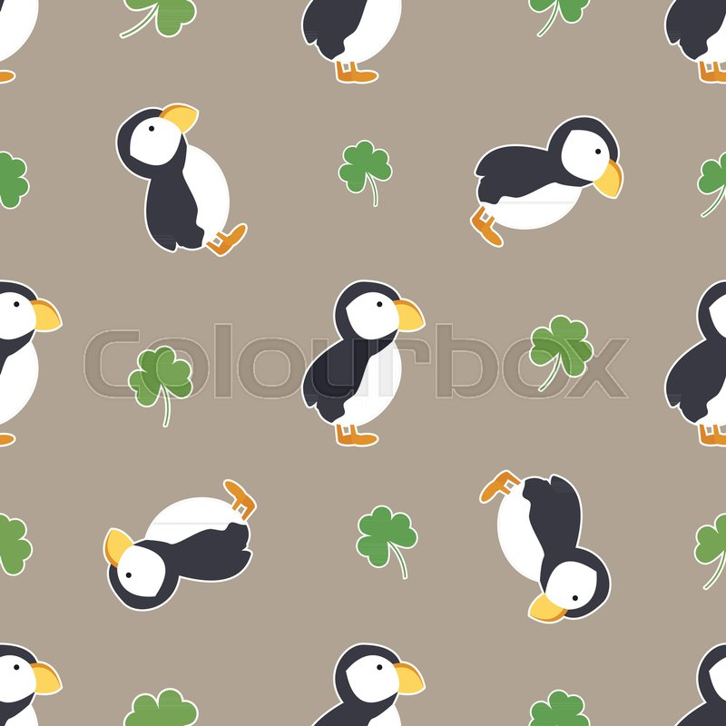 Irish Shamrock Clovers Puffins Pattern Symbols Of Ireland Vector