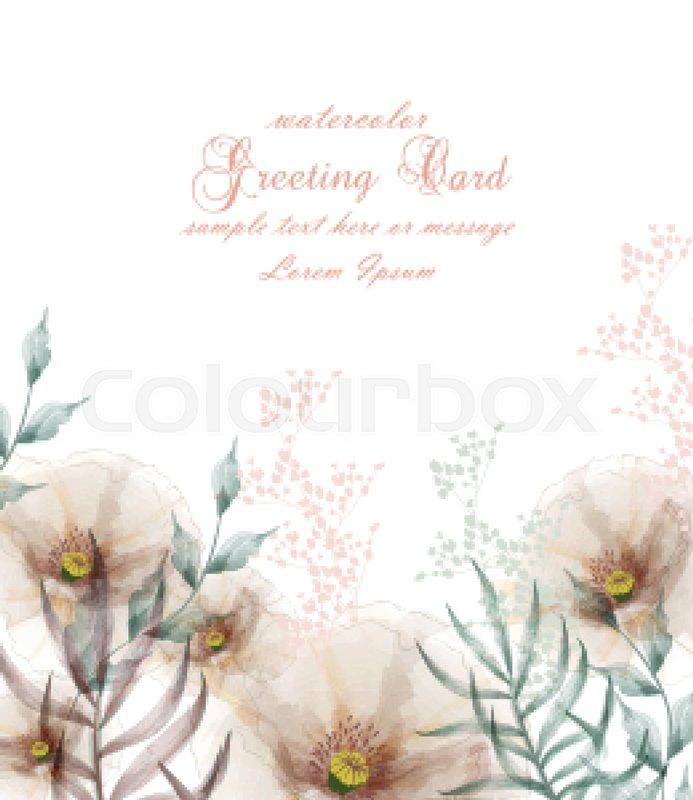 Watercolor flowers frame blossom card Vector. Vintage floral wedding ...