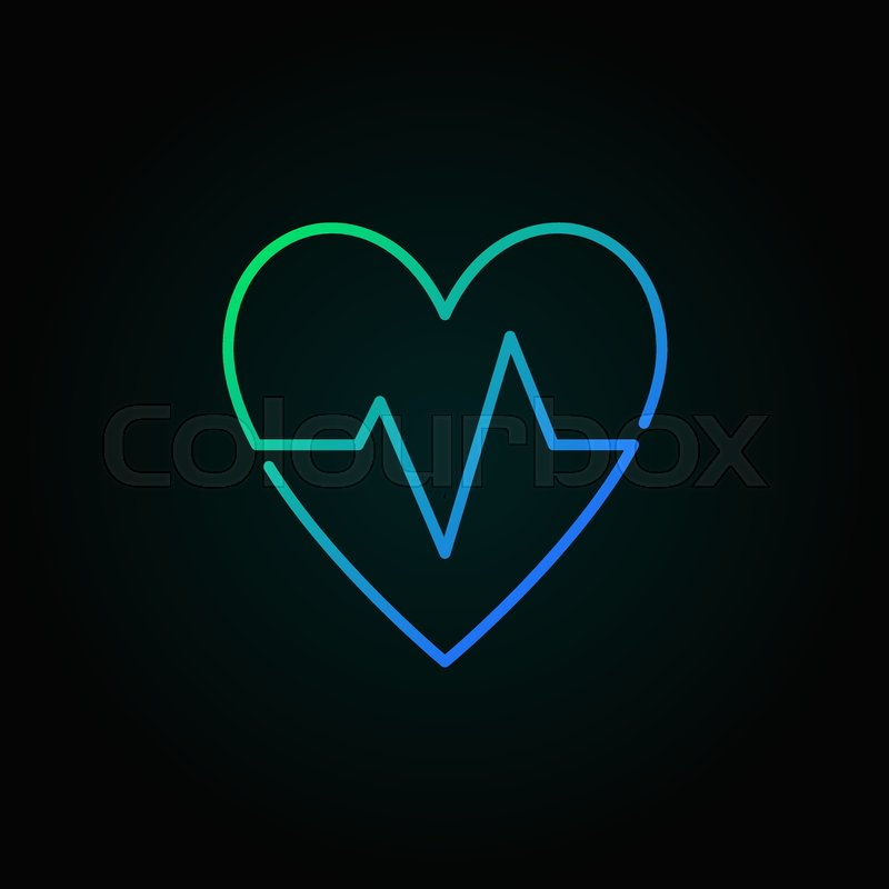 Heartbeat Vector Blue Icon Heart Rate Stock Vector