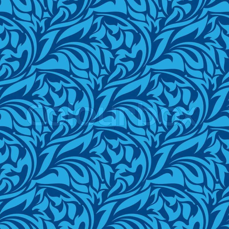 Blue Seamless Wallpaper Pattern Stock Vector Colourbox