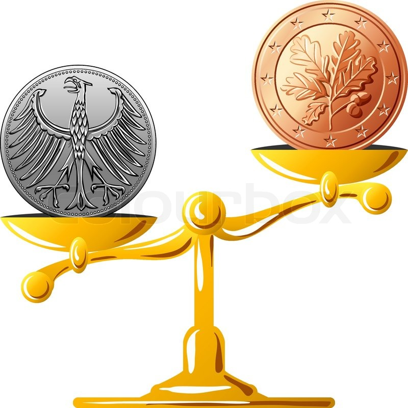 Concept Of An Old German Coin Mark And Coin Euro On The Gold Scales