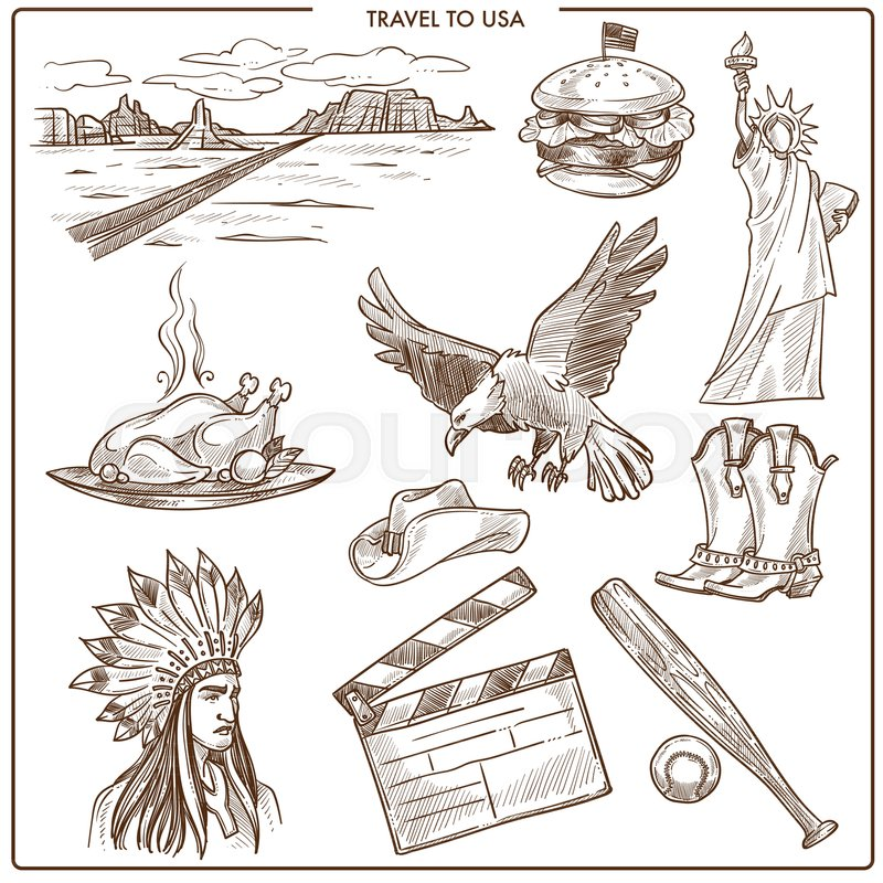Usa America Travel Sketch Landmarks And Culture Symbols Vector