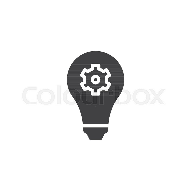 Light Bulb With Gear Vector Icon Filled Flat Sign For Mobile