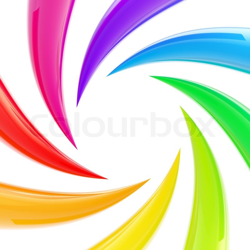 Circle Frame Abstract Swirl Background Made Of Rainbow