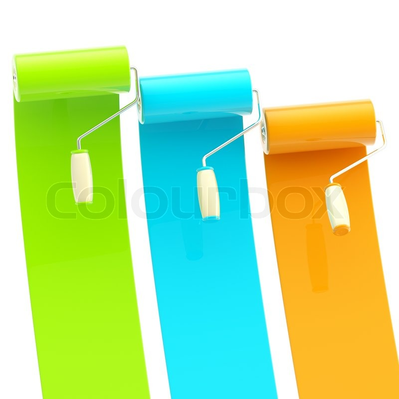 Colorful Glossy Green Blue Orange Bright Paint Rollers