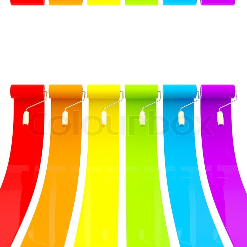 Colorful Glossy Bright Rainbow Paint Rollers With Color Strokes, Stock Photo