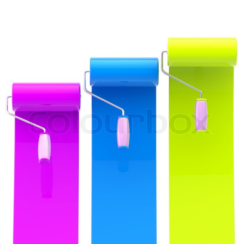 Colorful Glossy Magenta Blue Green Bright Paint Rollers